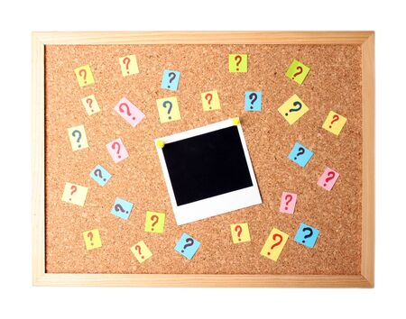Photo with question marks cork board photo