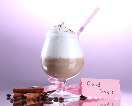 glass of coffee cocktail on purple background Stock Photo - 13941239