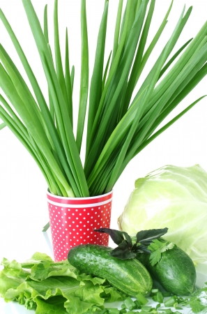 Composition of various herbs on a white plate and a red cup with white polka dots isolated on white close-up photo