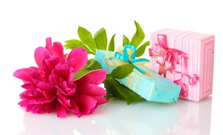 valentinas: beautirul pink gifts and peony flower isolated on white