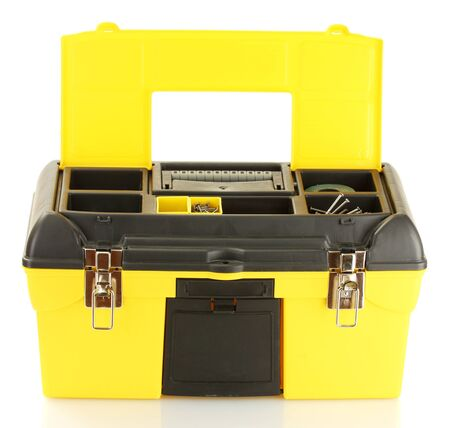 tool box: open yellow tool box isolated on white close-up