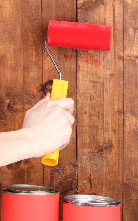 Painting wooden fence Stock Photo - 14013262