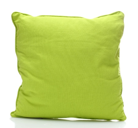 green bright pillow isolated on white Stock Photo - 14014395