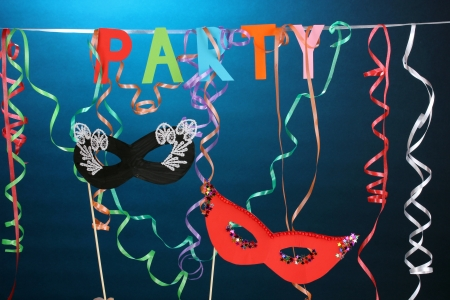 Party items on blue background photo