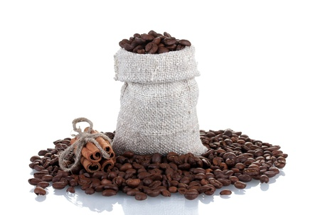 Coffee beans in canvas sack isolated on white Stock Photo - 13999846