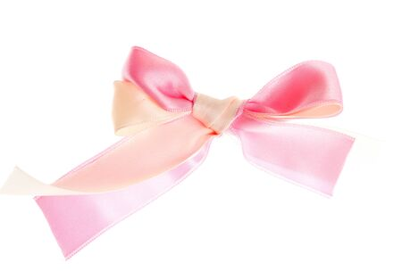 pink satin: beautiful pink satin bow isolated on white  Stock Photo