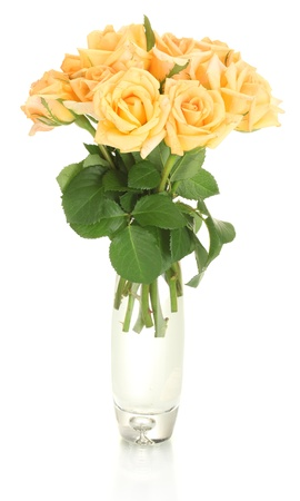 valentinas: beautiful bouquet of roses in transparent vase isolated on white  Stock Photo