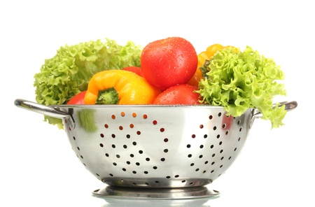 fresh vegetables in silver colander isolated on white Stock Photo - 14052140
