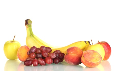 Ripe fruits isolated on white photo