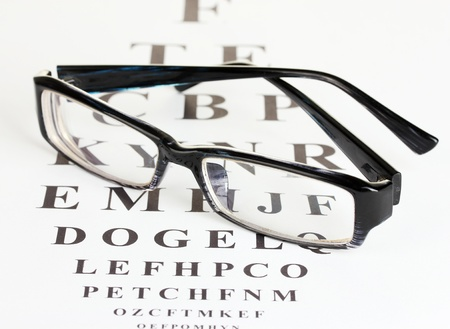 diopter: Eyesight test chart with glasses close-up Stock Photo