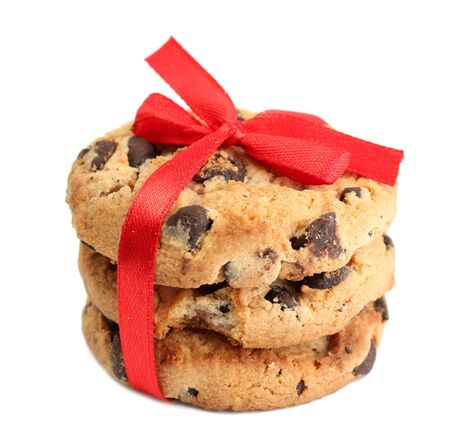 Chocolate chips cookies with red ribbon isolated on white  Stock Photo - 14069583