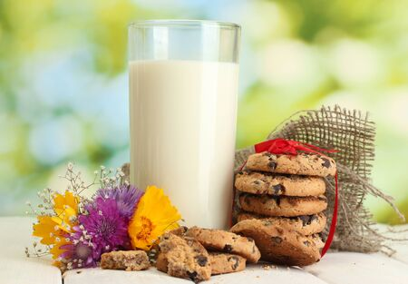 glass of milk, chocolate chips cookies with red ribbon and wildflowers on wooden table on green background photo