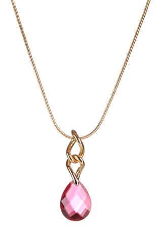 Pendant with pink gem isolated on white Imagens