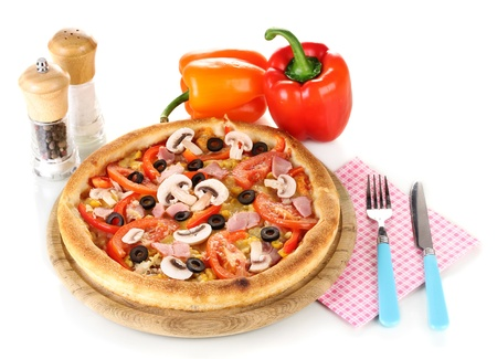 Aromatic pizza with vegetables isolated on white photo
