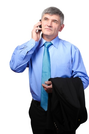 businessman on the phone against isolated on white Stock Photo - 14933778