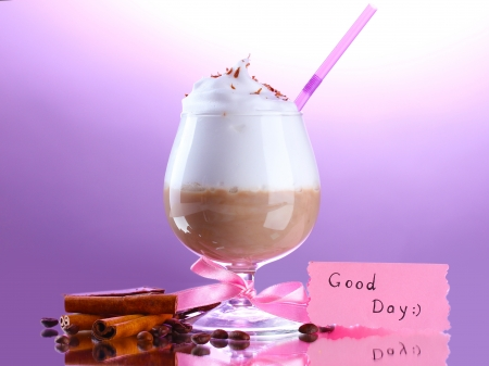 glass of coffee cocktail on purple background photo