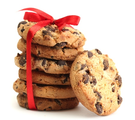 Chocolate chips cookies with red ribbon isolated on white Stock Photo - 14077501