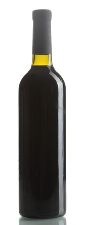 bottle of red wine isolated on white photo