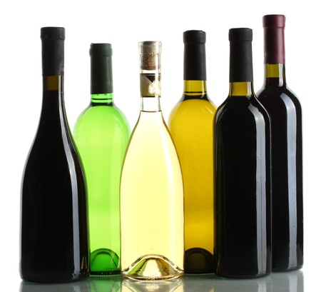glass bottles: bottles of wine isolated on white