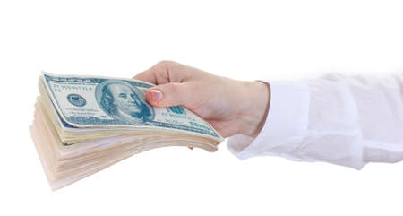 American dollars in a women hand on a white background  Stock Photo - 14065799