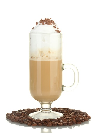 glass of coffee cocktail with coffee beans isolated on white photo