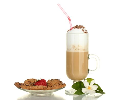 glass of coffee cocktail with cookies and strawberry on saucer and flowers isolated on white photo