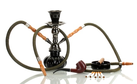 Smoking tools - a hookah, cigar, cigarette and pipe isolated on white background photo