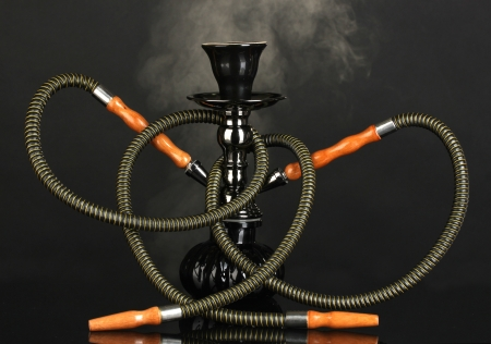 hookah smoke on black background photo