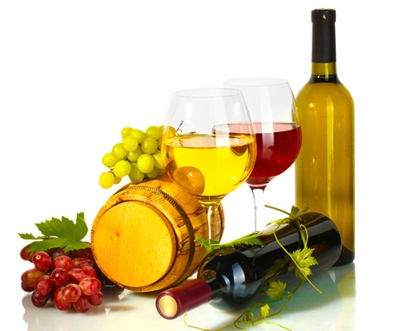 wooden barrel: barrel, bottles and glasses of wine and ripe grapes isolated on white Stock Photo
