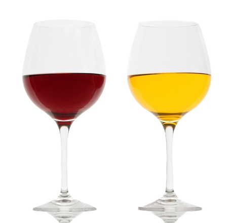 two glasses of wine isolated on white photo