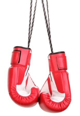 Red boxing gloves hanging isolated on white photo