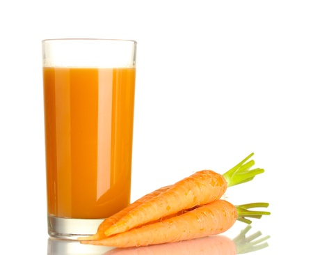 glass of carrot juice and fresh carrots isolated on white photo