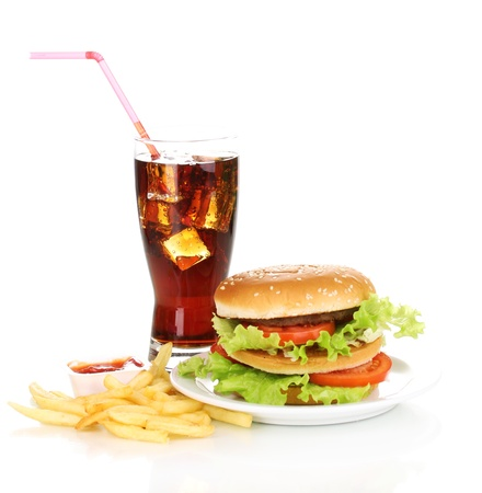 Big and tasty hamburger on plate with cola and fried potatoes isolated on white Stock Photo - 14097160