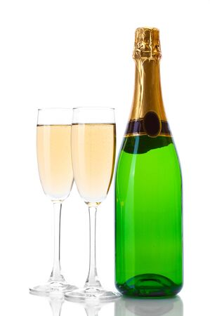 glasses and bottle of champagne isolated on a white photo