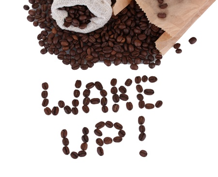 Composition of coffee beans. Wake up. photo
