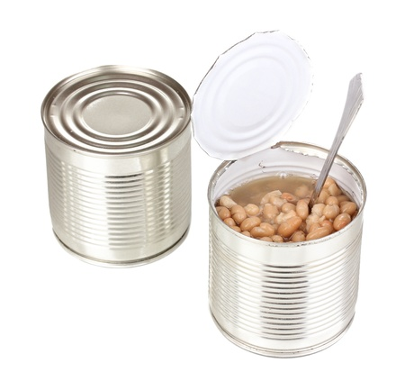 Open tin can of beans with spoon and closed can isolated on white photo