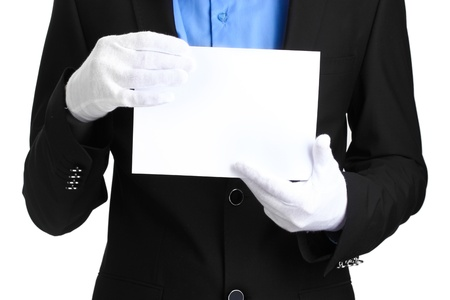 usher: man holding blank paper isolated on white
