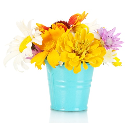 beautiful bouquet of bright  wildflowers in blue metal bucket, isolated on white photo