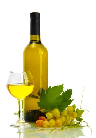 bottle, glass of wine and ripe grapes isolated on white Stock Photo - 14109667