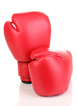 Red boxing gloves isolated on white Stock Photo - 14110619