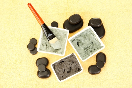cosmetic clay for spa treatments on yellow background close-up Stock Photo - 14111547