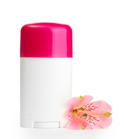 deodorant with flower isolated on white Stock Photo - 14109265