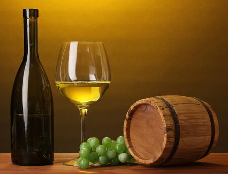In wine cellar. Composition of wine bottle and runlet photo