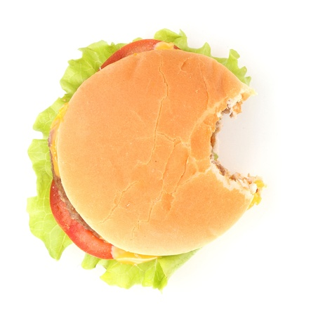 Bitten cheeseburger isolated on white Stock Photo - 14109389