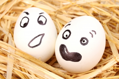 White eggs with funny faces in straw photo