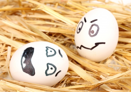White eggs with funny faces in straw Stock Photo - 14176757