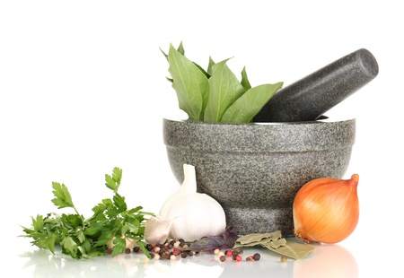 Set of ingredients and spice for cooking isolated on white photo