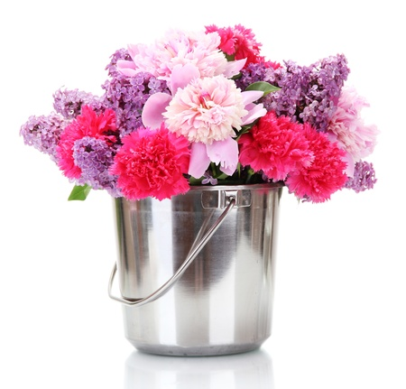 beautiful spring flowers in metal bucket isolated on white Stock Photo - 14169714