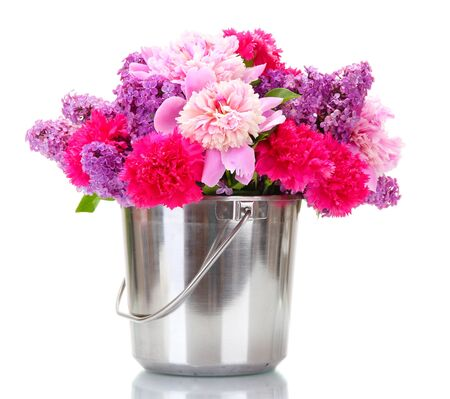 beautiful spring flowers in metal bucket isolated on white Stock Photo - 14169674
