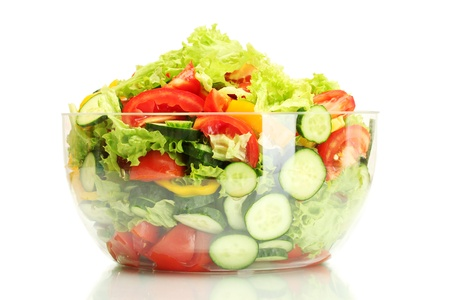 fresh vegetable salad in transparent bowl isolated on white Stock Photo - 14171320